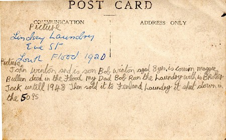 Back of postcard, with Bobby's notes